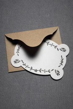 stationary -- curves floral print with birds and punched corners and craft paper envelop