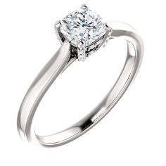14kt White Gold 5mm Center Cushion Cubic Zirconia and 18 Accent Round Diamonds Engagement Ring...(ST122095:496:P).! Price: $349.99
