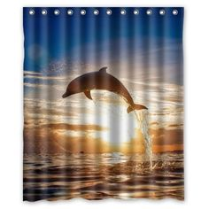 WECE Design Popular Dolphins Bath curtain 60 x 72 * You can get more details by clicking on the image.
