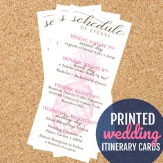 Destination wedding itinerary cards are great for welcome gift bags!