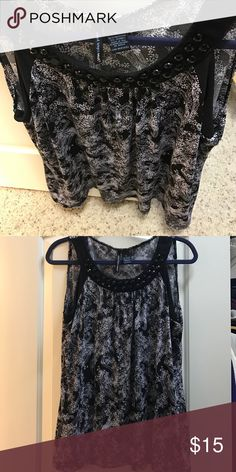 Saint Tropez West beaded neck Paisley Black and White Print Sleeveless with black beaded embellishments around Neck Worn once !! Tops Blouses