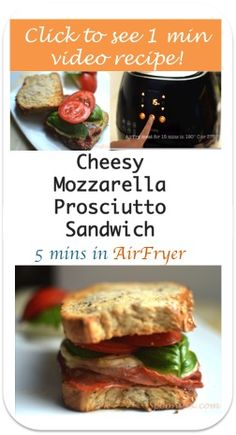 Make this easy cheesy prosciutto, basil & tomato sandwich with AirFryer in 5 minutes. Enjoy!