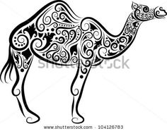 Camel decorative ornament. Animal sketch with floral ornament decoration by ComicVector703, via Shutterstock