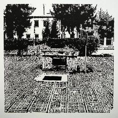 Dolný Šianec 1004-2 [printmaking, cutting into MDF] #printmaking #woodcut #bunker #art