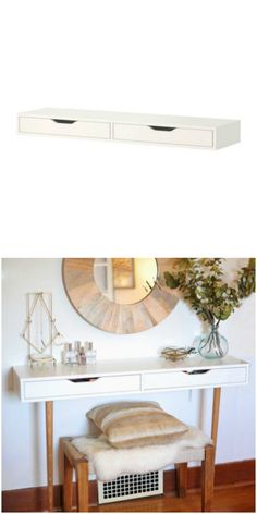 IKEA's Ekby Alex shelf gets a new life as a vanity in this chic IKEA hack.