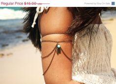 Destockage Armlet esclave Bracelet bras Bracelet pièce Hipster chaîne Bronze Feather charme perle Turquoise drapé Bohème Body Jewelry