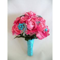 Wedding or Quinceanera Real Touch Hot PInk Turquoise Brooch Bouquet, READY TO SHIP or Custom Order (£105) found on Polyvore