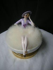 ancien poudrier femme art deco porcelaine half doll figurine lady powder puff Z