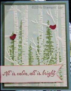 Stampin' Up! Christmas Cards - Wonderland stamp set, Woodland Embossing Folder and Tree Builder Punch