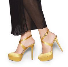 Strappy Yellow Satin Heels.