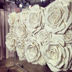 Paper rose wall backdrop for The Knot Live!