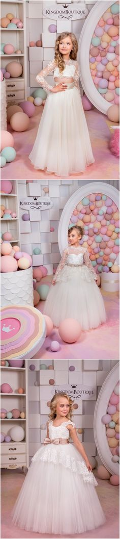 Birthday Wedding Party Holiday Bridesmaid Flower Girl Ivory and Tulle Lace Dress / http://www.deerpearlflowers.com/flower-girl-dresses-shops/
