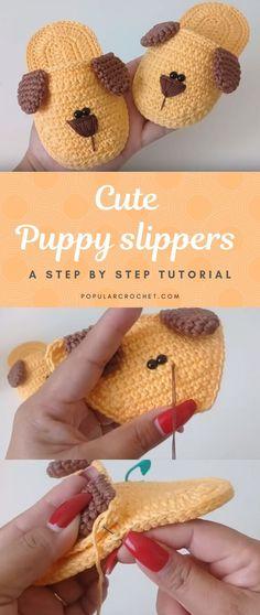 Crochet puppy slippers – Popular Crochet – Stricken ist so einfach wie 3 D… Beau Crochet, Crochet Baby Socks, Bonnet Crochet, Crochet Baby Clothes, Crochet Beanie, Love Crochet, Crochet Gifts, Crochet For Kids, Knit Crochet