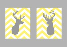 "Deer Silhouette with Chevron Zig Zag Stripes - Set of two prints -  8""x10"", $28.00"