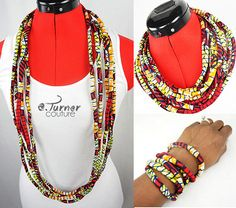 African Fabric Necklace  African Jewelry   by ETurnerCouture