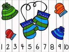 Winter fun counting number puzzles - counting by 1's and 10's - differentiated for all learners $