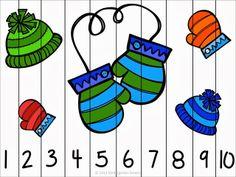 knipoefening, puzzel en oefening van de cijfers 1 t/m 10 - thema winter