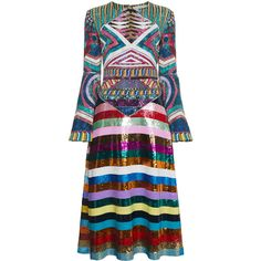 Mary Katrantzou Lark sequin embellished dress ($5,420) ❤ liked on Polyvore featuring dresses, multicolour, multi colored sequin dress, long sleeve sequin dress, multi-color dress, multi coloured dress and patterned skater skirt