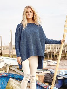 Leiston- Knit this slouchy ladies sweater from Rowan Knitting & Crochet Magazine 59. Designed by Marie Wallin in Original Denim its generous sized body is worked in moss stitch making it suitable for the less experienced knitter.