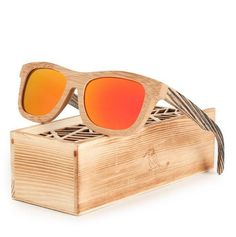 Polarized Square Wood Frame Sunglasses In Wooden Gift Box-Green,Blue,Yellow,Gray Wooden Gift Boxes, Wooden Gifts, Wooden Sunglasses, Mirrored Sunglasses, Blue Yellow Grey, Green Gifts, Handmade Design, Polarized Sunglasses, Gift Ideas