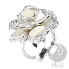 - 925 fine sterling silver - 0.5 micron natural rhodium plating - Set with AAA white cubic zirconia and mother of pearl - Dimension:  Invest with confidence in FERI Designer Lines https://www.globalwealthtrade.com/vdm/display_item.php?referral=jgala&category=12&item=3689&cntylng=&page=13