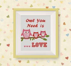 Owl You Need is LOVE, Owl Cross Stitch Pattern, PDF counted cross stitch pattern, Birds Cross Stitch Pattern, P176 by NataliNeedlework on Etsy