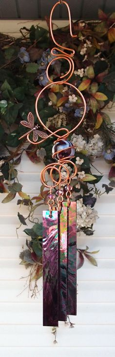 Dragonfly Wind Chimes Copper Garden Art by DragonflyDreams1, $29.99