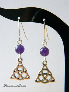 Amethyst and Triquetra Earrings with by Bluebirdsanddaisies, £6.50