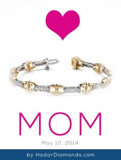 Mothers Day Jewelry by HadarDiamonds.com . Light up her wrist with a diamond tennis bracelet.  Suitable to wear to the office, parties, or galas.  Available in custom sizes.