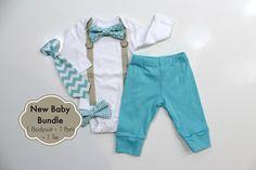 Baby Boy Coming Home Outfit. Newborn hospital outfit. Boy Coming Home Clothes. Newborn Boy Clothes. Newborn bowtie bow tie tie. Aqua chevron by CuddleSleepDream on Etsy https://www.etsy.com/listing/260106763/baby-boy-coming-home-outfit-newborn