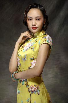 Top Print Silk Satin Classic Chinese Dresses Yellow - $342 - SKU: 724159 - Custom Now: http://elegente.com/redshop.html #REDPALACE #Cheongsam #Qipao