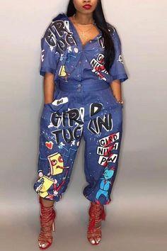 c60b585e577e PansyGal Cartoon Printing Blue Denim One-piece Jumpsuits Curvy Fashion