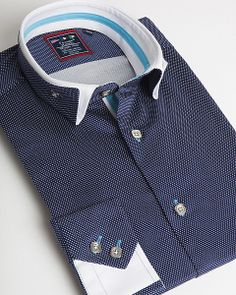 Navy blue double collar shirt by Franck Michel