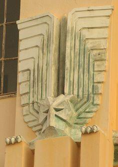 Architectural detail of Art Deco building, Durban
