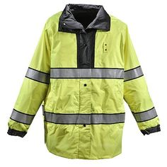 """Gerber Outerwear: Typhoon ANSI 107 Class 3 32"""" Rain Jacket- Supple Waterproof Breathable Windproof Taslan Outer Shell with High Visibility ANSI 107 Class 3 interior.  Hip length design provides mobility and protection. Double storm flap front with reversible zipper closure. Side access equipment zipper, adjustable cuffs and drop in concealable hood. Mic tabs, badge tabs and hand pockets on both the interior and exterior sides. #TheFireStore"""