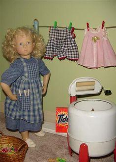 Fiona does the laundry