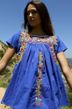 Tons of Detail Vintage Romantic Oaxacan Blouse Delicate Hand Embroidered Flowers