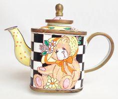 Teddy Bear miniature enamel teapot - Charlotte di Vita