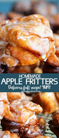 Homemade Apple Fritter Recipe is the perfect way to start a chilly fall day. Sweet apple filled goodness make these apple fritters a delicious breakfast! via @KleinworthCo #applefritters #cinnamon #apple Apple Fritter Recipes, Donut Recipes, Apple Recipes, Cookie Recipes, Peach Fritter Recipe, Apple Dessert Recipes, Easy Apple Fritters Recipe, Baked Apple Fritters, Apple Fritter Cake