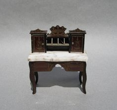Antique Dollhouse Desk Biedermeier Germany Circa 1870 Miniature Marble Top Writing Table