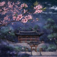 The blossom tree with the view of the Sanctuary behind it Asian Landscape, Fantasy Landscape, Landscape Art, Fantasy Kunst, Fantasy Art, Anime Kunst, Anime Art, Art Asiatique, Tree Illustration