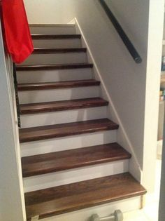 from carpet to wood stairs redo cheater version, diy, how to, stairs, Stairs Before Stay Tuned for After Picture