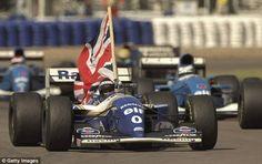 Formula 1 photo: Damon Hill celebrates winning the 1994 British Grand Prix, Silverstone, July 1994 F1 Racing, Racing Team, Formula 1, Lewis Hamilton Wins, Damon Hill, Williams F1, Blues, British Grand Prix, Michael Schumacher