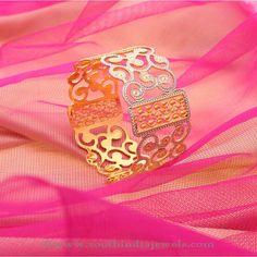 Designer Broad Gold Bangles from Manubhai ~ South India Jewels Kids Gold Jewellery, Leaf Jewelry, Silver Jewelry, Silver Ring, Silver Earrings, Onyx Necklace, Garnet Necklace, Chain Jewelry, Swarovski Jewelry