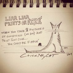 Liar Liar Prints on FIRE... Are you fibbin' too?  CLICKittyCAT.com almost daily photo cartoons.