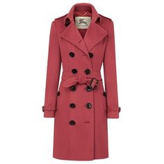 Burberry Sandringham Fit Cashmere Trench Coat ($2,595) ❤ liked on Polyvore featuring outerwear, coats, jackets, burberry, red coat, burberry trenchcoat, red trench coat, red trenchcoat und belted trench coat