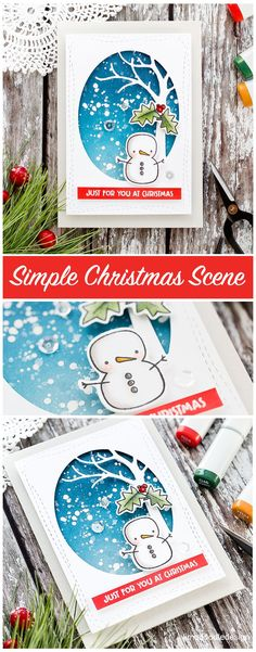 Quick and easy winter scene for this cute Christmas card by Debby Hughes using the Merry & Bright set from Simon Says Stamp. Find out more about this handmade card here: http://limedoodledesign.com/2017/11/video-quick-easy-winter-scene/ #SSSFAVE