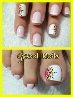 Uñas Cute Toe Nails, Toe Nail Art, Love Nails, Fun Nails, Pedicure Designs, Toe Nail Designs, Hello Nails, New Nail Art Design, Light Nails