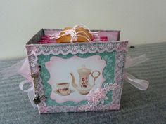 Tea sachet mini book 6 pages with pockets to hold 12 sachets