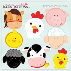 Barn Animal Faces Cute Digital Clipart for Card Design, Scrapbooking, and Web Design. $5.00, via Etsy.